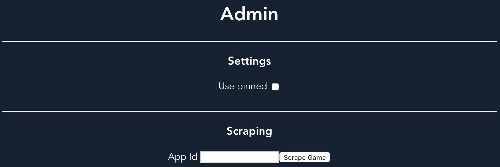 Admin panel for the tool