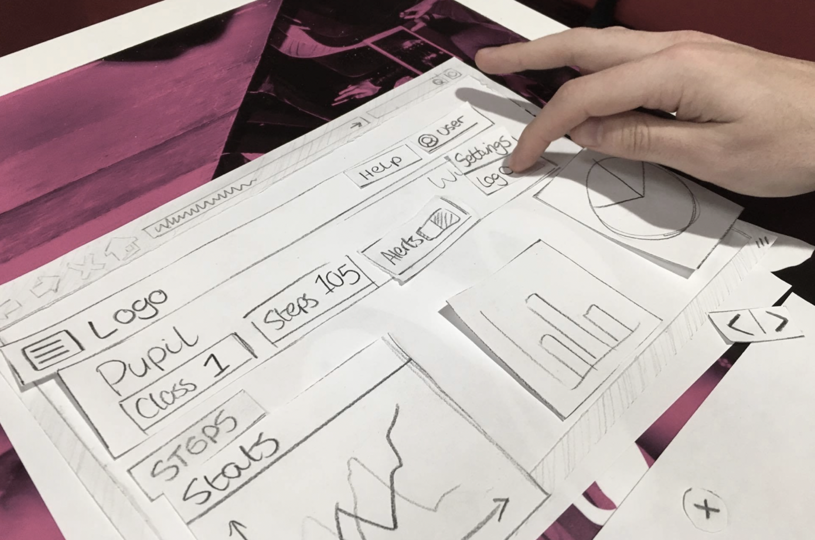 Paper prototyping the system UI with a subject
