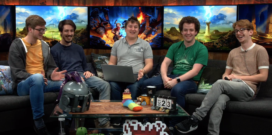 Me sitting with my colleagues during a livestream showcasing new game features