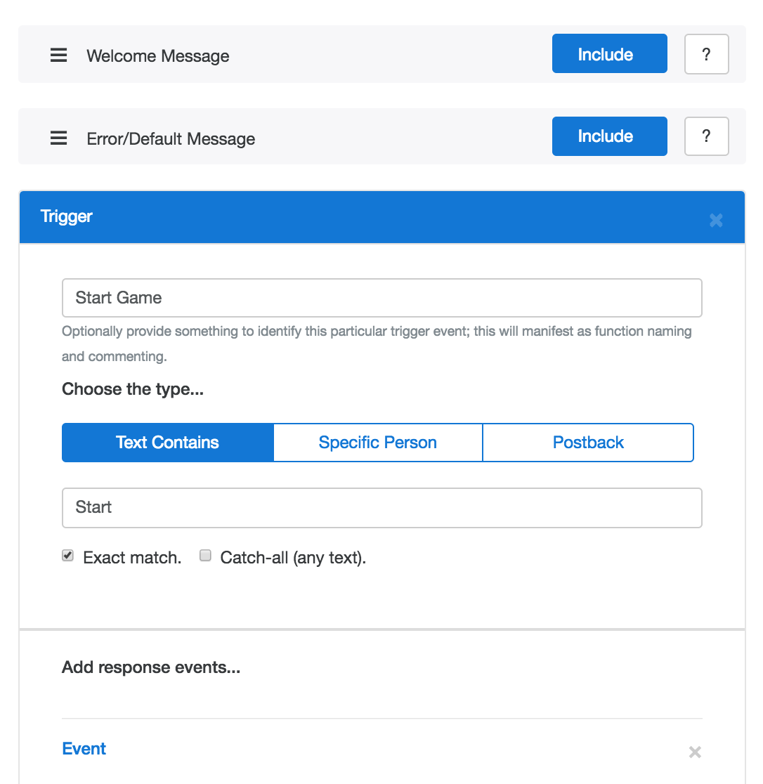 Messenger Bot interface with customisable triggers