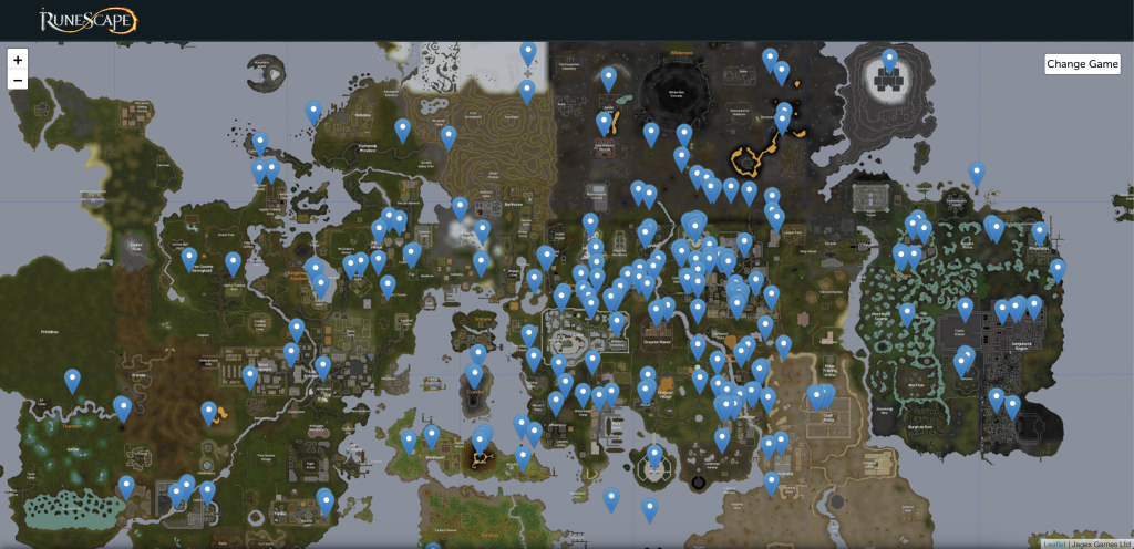 An image of the map of Gielinor from RuneScape with pins and messages on it