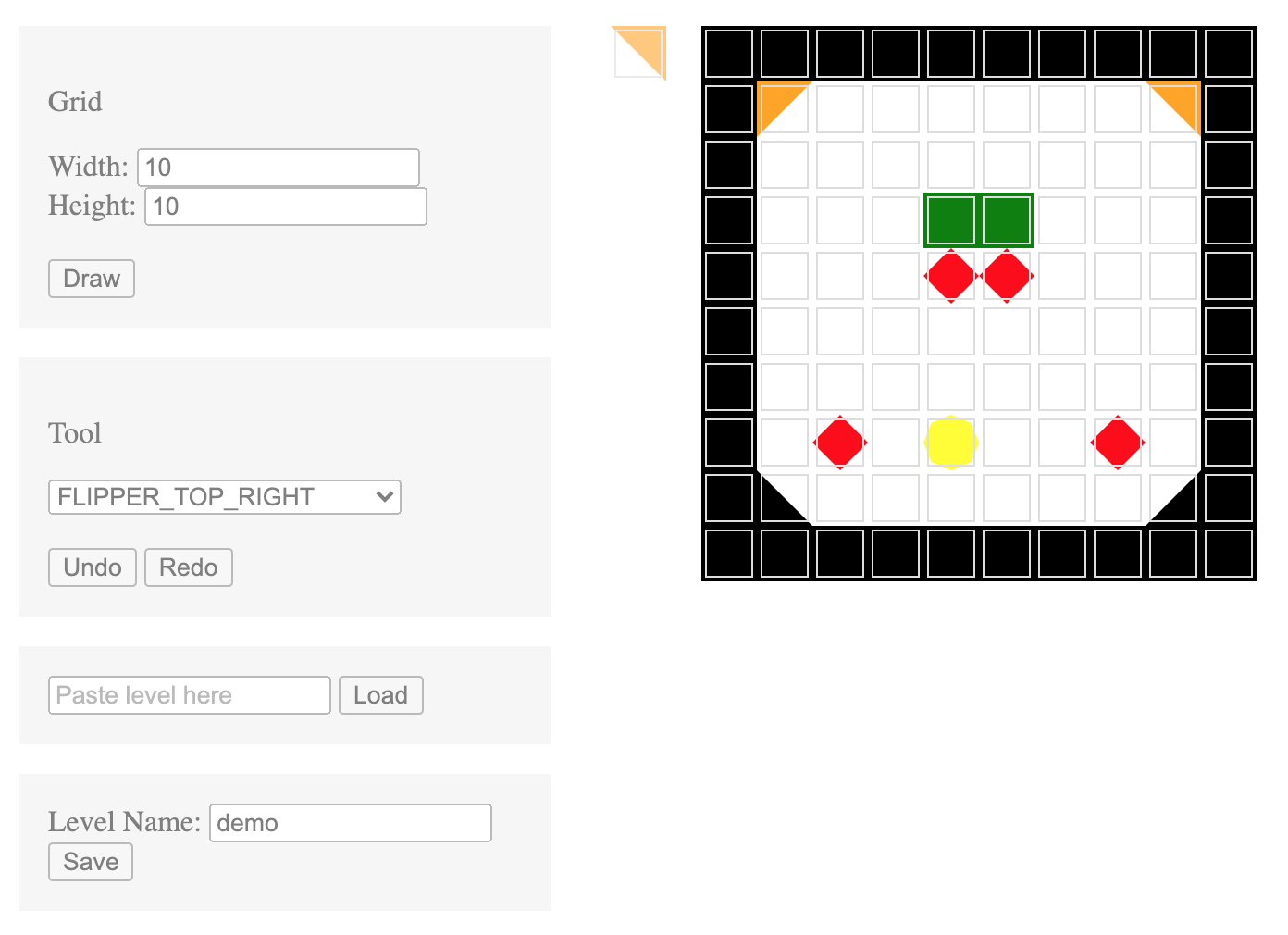 A screenshot of the tile-based level editor for the game