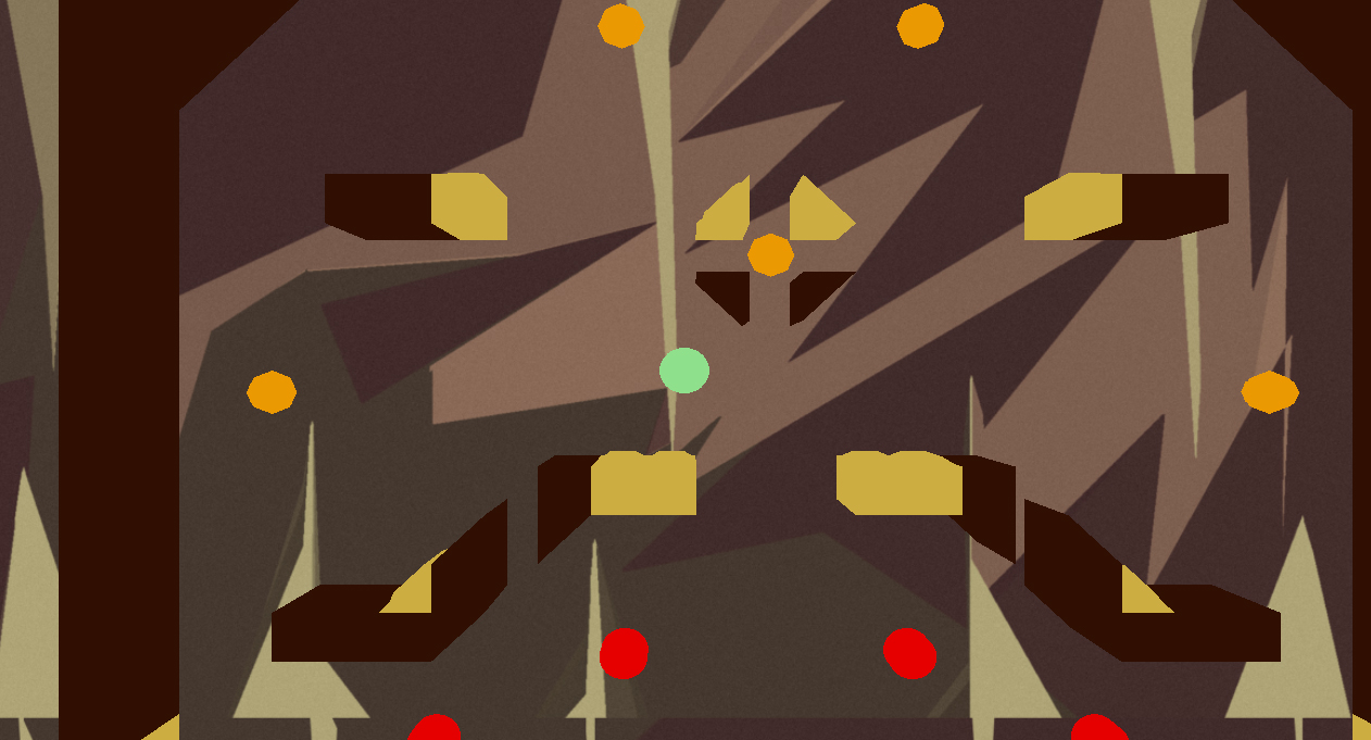 A screenshot of a platformer game with coloured obstacles