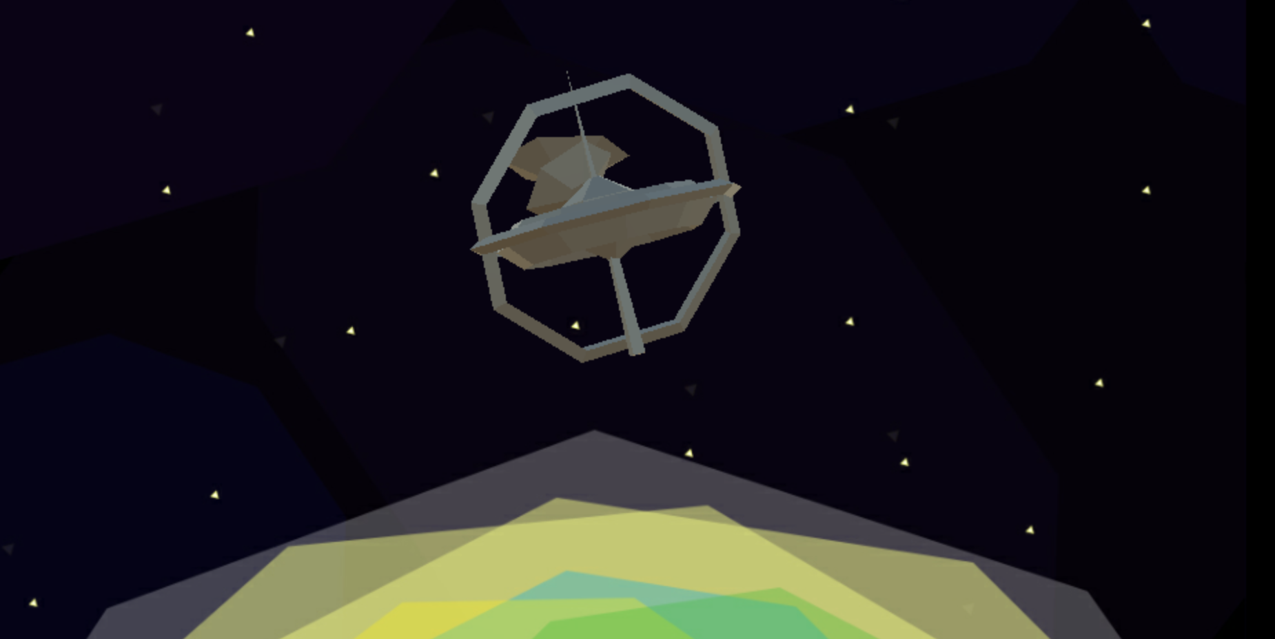 The background of the game Space Keeper showing some sort of floating space ship