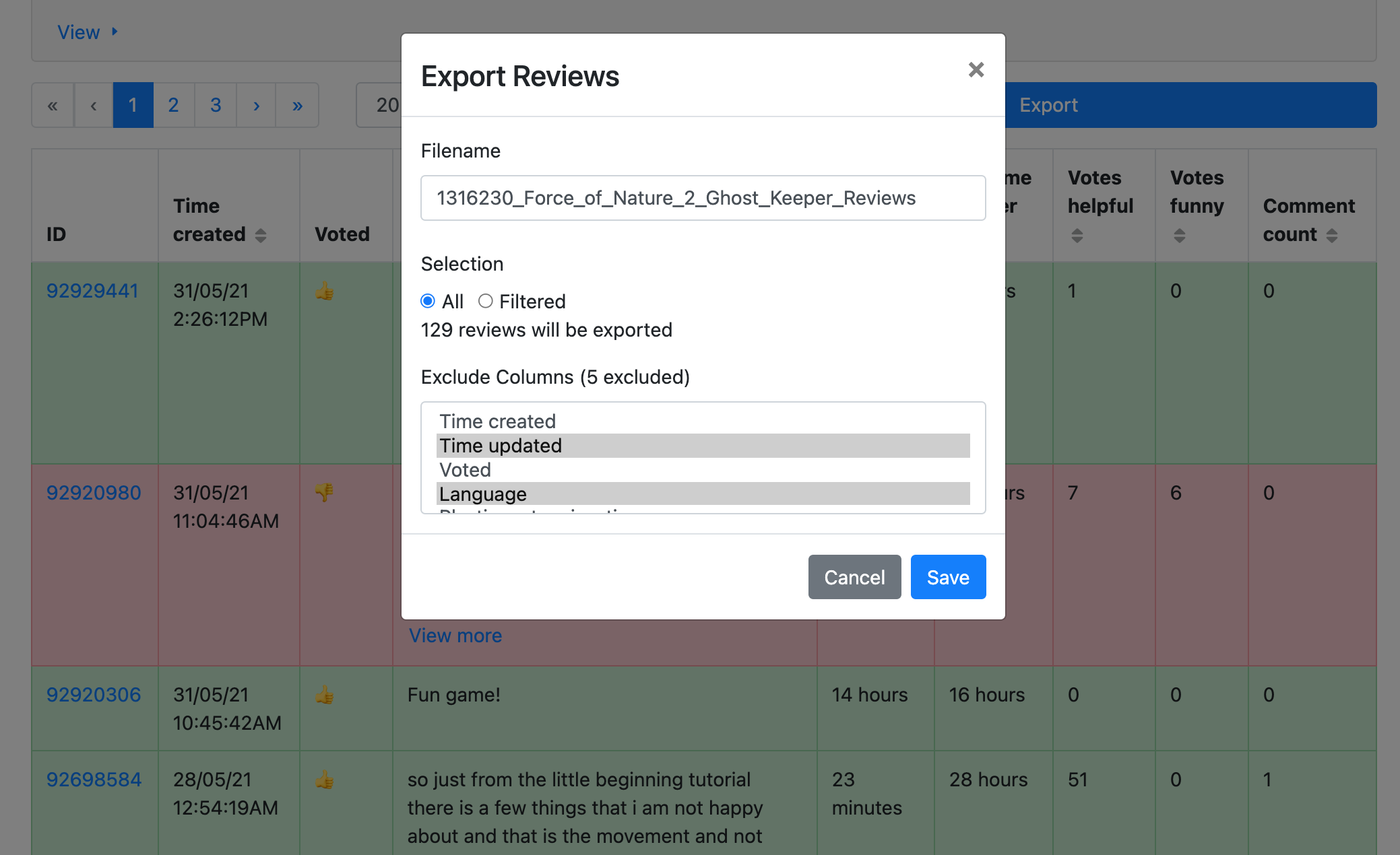 A screenshot of the Steam review explorer's export view