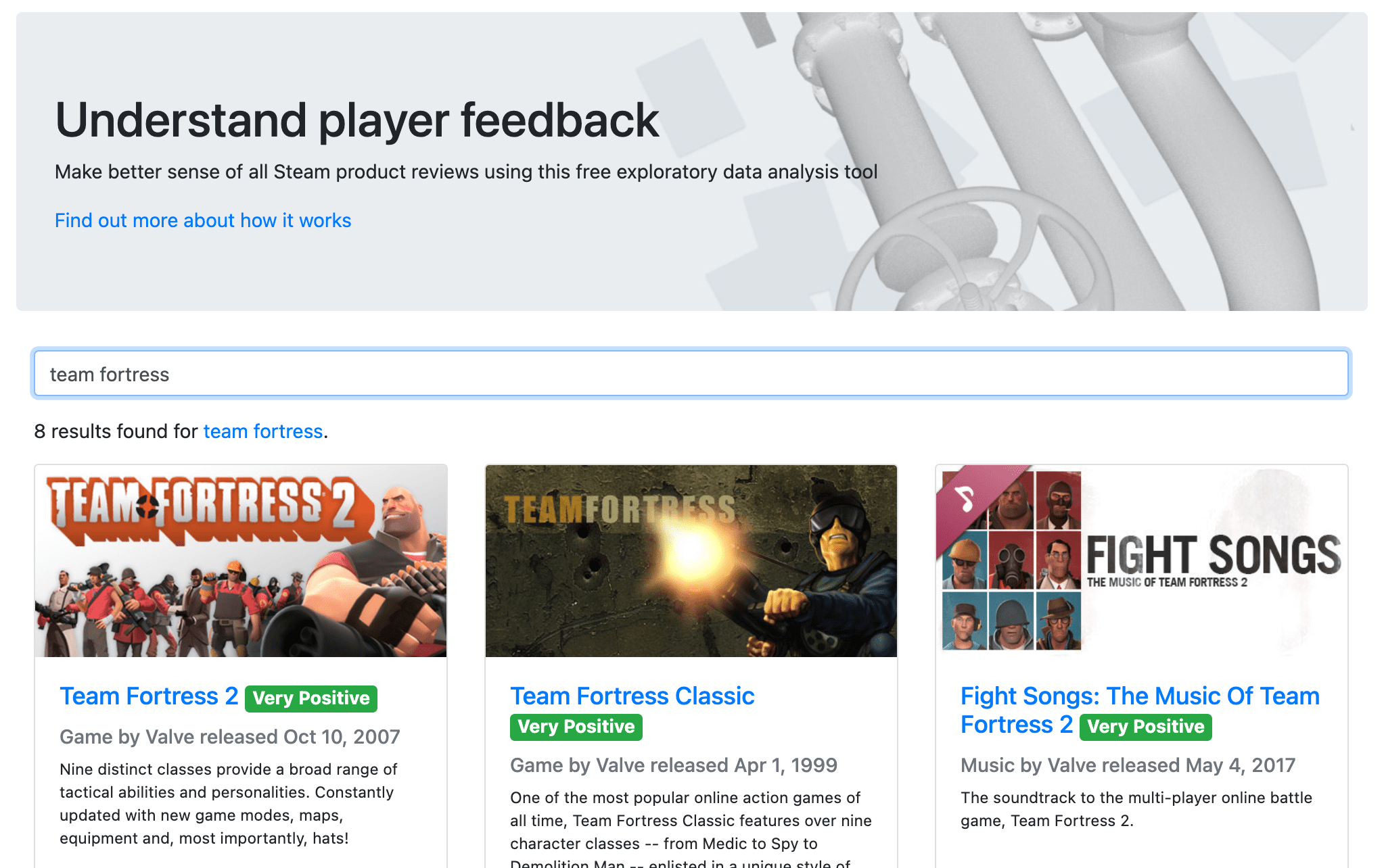 A screenshot of the Steam review explorer's home page