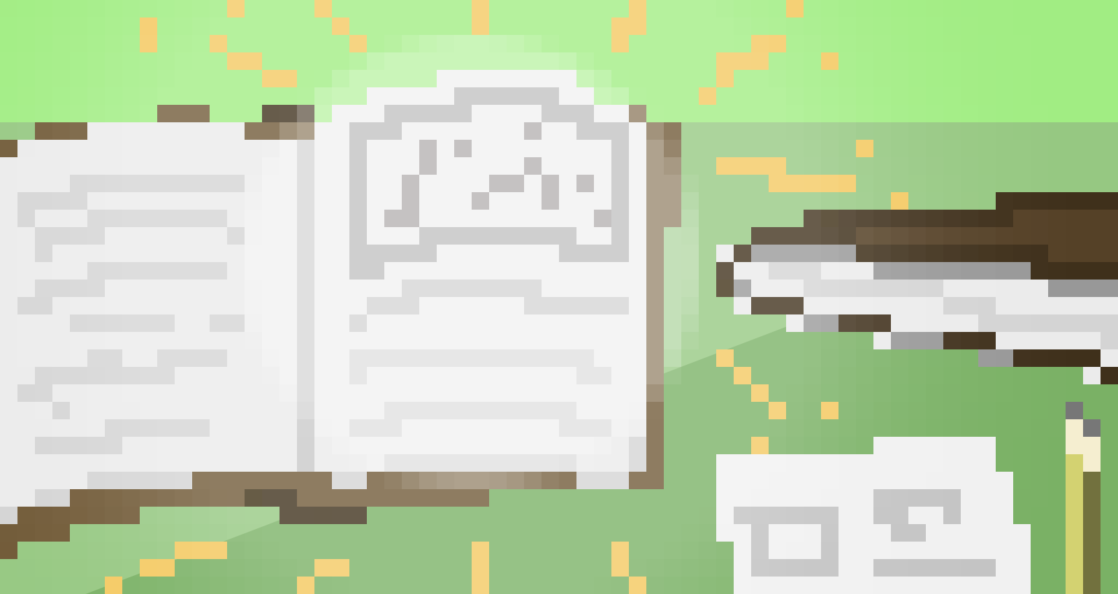 A pixel-art graphic of an open book on a green background
