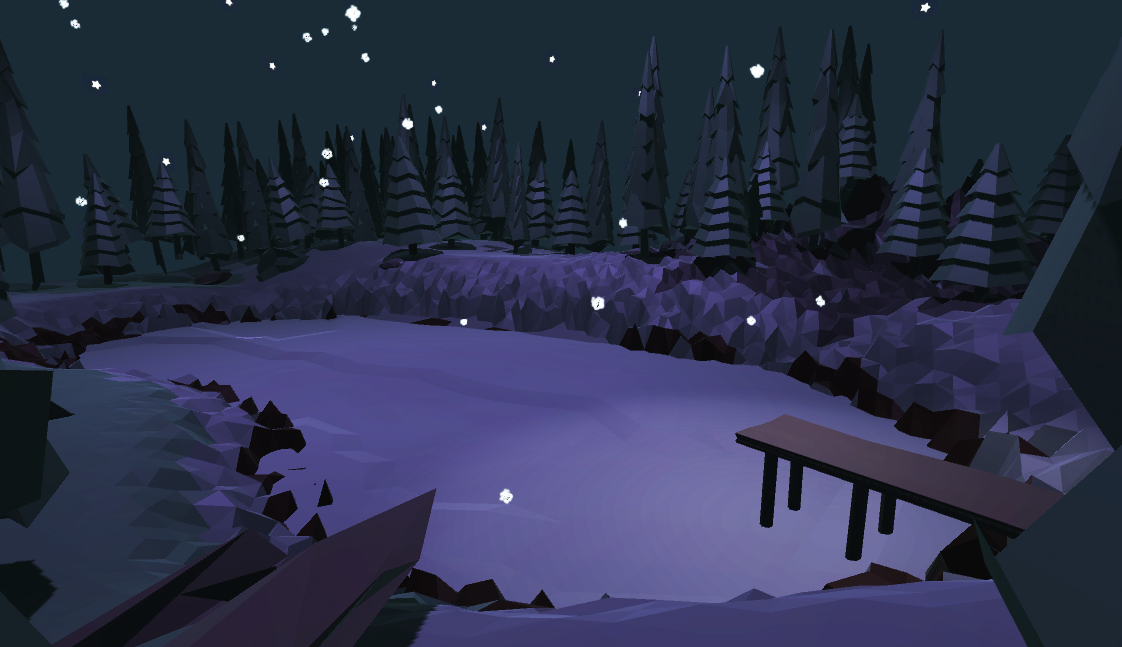 A low-poly frozen lake at night surrounded by trees